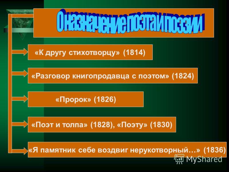 «К другу стихотворцу» (1814) «Разговор книгопродавца с поэтом» (1824) «Пророк» (1826) «Поэт и толпа» (1828), «Поэту» (1830) «Я памятник себе воздвиг нерукотворный…» (1836)