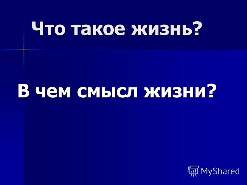 Что такое жизнь? В чем смысл жизни?