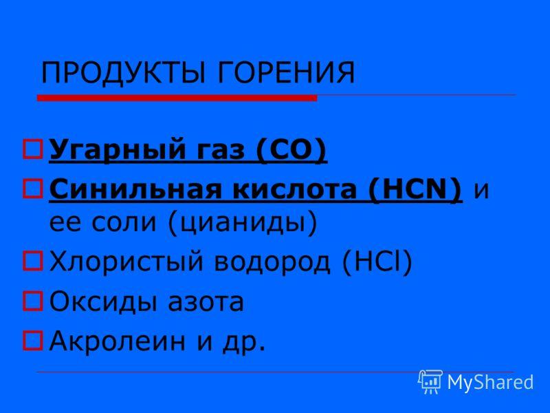 ПРОДУКТЫ ГОРЕНИЯ Угарный газ (СО) Синильная кислота (НCN) и ее соли (цианиды) Хлористый водород (НСl) Оксиды азота Акролеин и др.