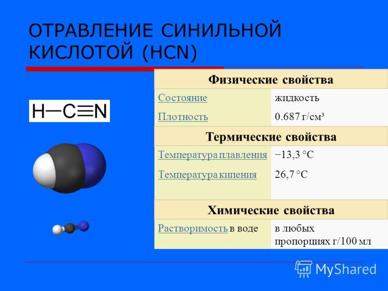 ОТРАВЛЕНИЕ СИНИЛЬНОЙ КИСЛОТОЙ (HCN) Физические свойства Состояниежидкость Плотность0.687 г/см³ Термические свойства Температура плавления13,3 °C Температура кипения26,7 °C Химические свойства РастворимостьРастворимость в водев любых пропорциях г/100