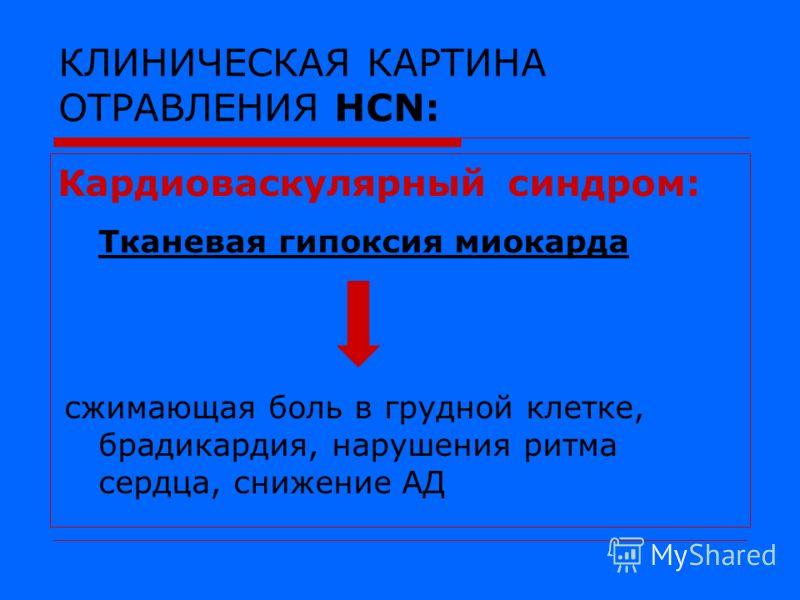 КЛИНИЧЕСКАЯ КАРТИНА ОТРАВЛЕНИЯ HCN: Кардиоваскулярный синдром: Тканевая гипоксия миокарда сжимающая боль в грудной клетке, брадикардия, нарушения ритма сердца, снижение АД