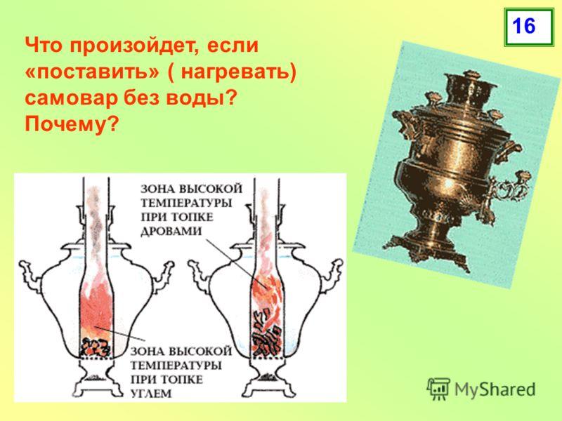 Что произойдет, если «поставить» ( нагревать) самовар без воды? Почему? 16