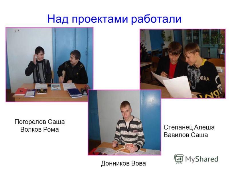 Над проектами работали Погорелов Саша Волков Рома Степанец Алеша Вавилов Саша Донников Вова