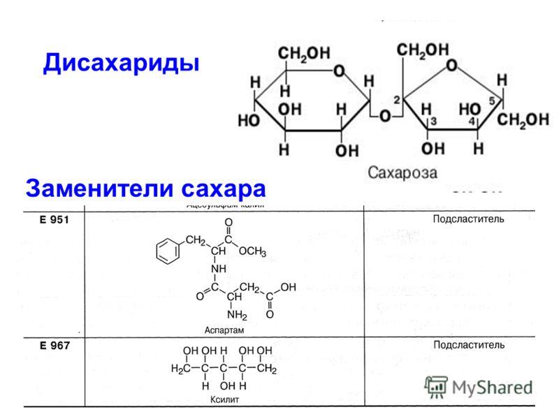 Дисахариды Заменители сахара
