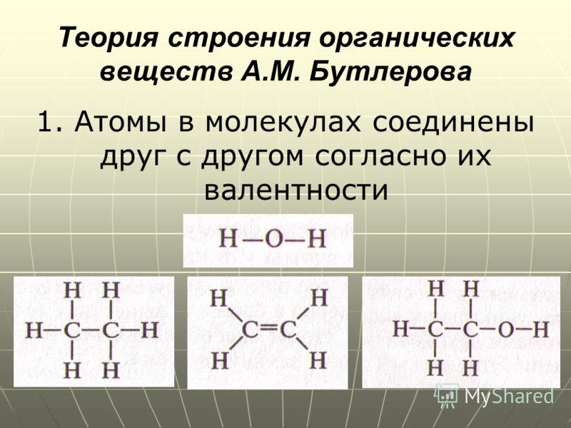 Теория строения органических веществ А.М. Бутлерова 1. Атомы в молекулах соединены друг с другом согласно их валентности