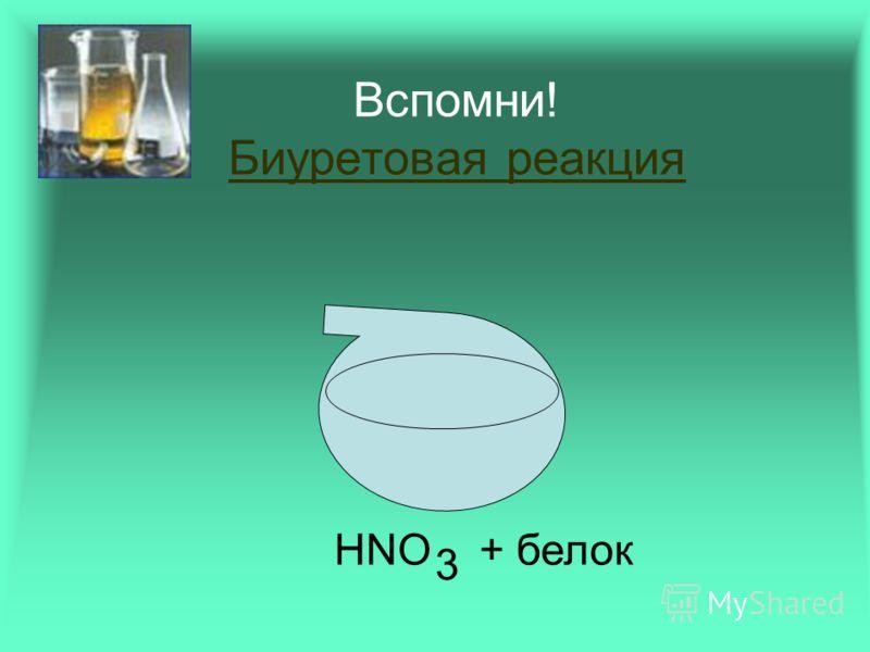 Вспомни! Биуретовая реакция Биуретовая реакция HNO + белок 3