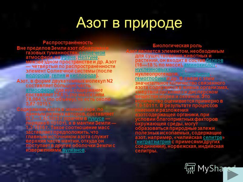 Азот в природе Распространённость Вне пределов Земли азот обнаружен в газовых туманностях, солнечной атмосфере, на Уране, Нептуне, межзвёздном пространстве и др. Азот четвёртый по распространённости элемент Солнечной системы (после водорода, гелия и