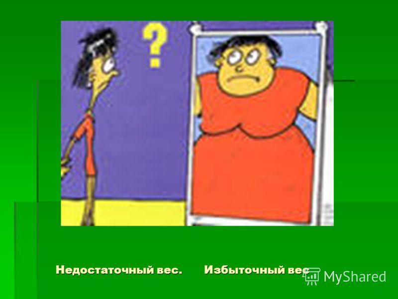 Недостаточный вес. Избыточный вес Недостаточный вес. Избыточный вес