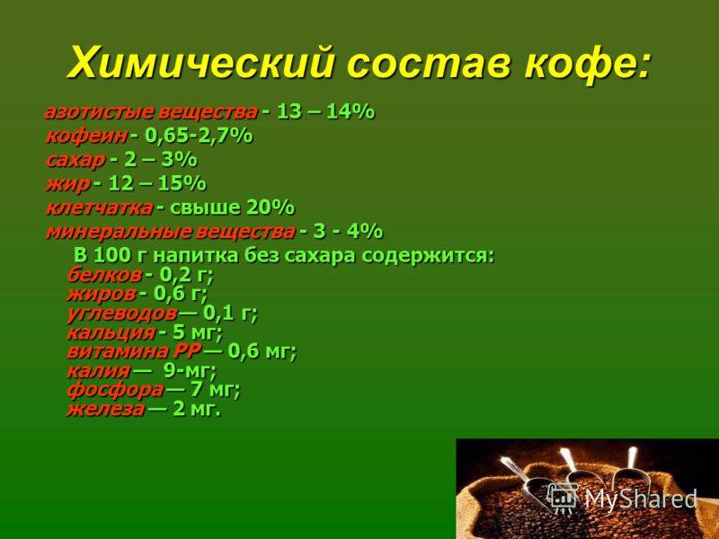 Химический состав кофе: азотистые вещества - 13 – 14% кофеин - 0,65-2,7% сахар - 2 – 3% жир - 12 – 15% клетчатка - свыше 20% минеральные вещества - 3 - 4% В 100 г напитка без сахара содержится: белков - 0,2 г; жиров - 0,6 г; углеводов 0,1 г; кальция