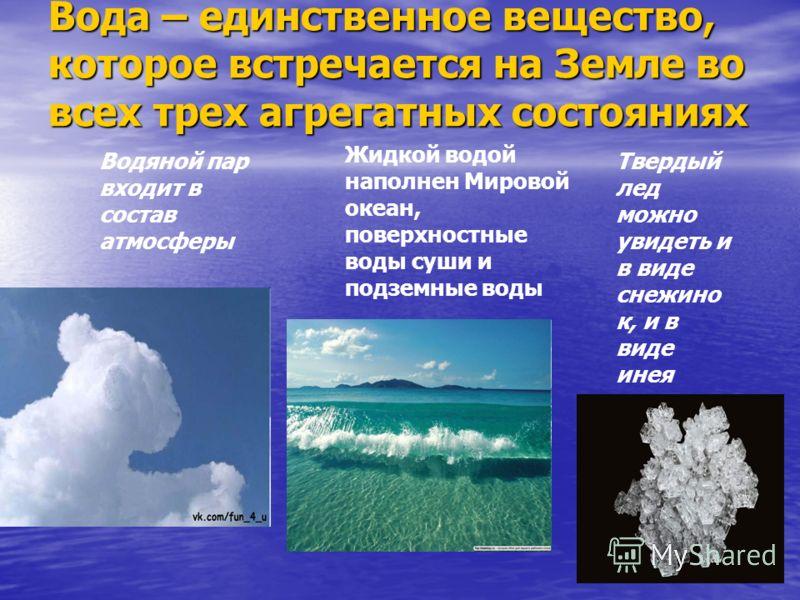 Вода – единственное вещество, которое встречается на Земле во всех трех агрегатных состояниях Водяной пар входит в состав атмосферы Жидкой водой наполнен Мировой океан, поверхностные воды суши и подземные воды Твердый лед можно увидеть и в виде снежи