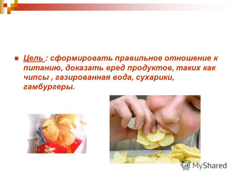 Цель : сформировать правильное отношение к питанию, доказать вред продуктов, таких как чипсы, газированная вода, сухарики, гамбургеры.