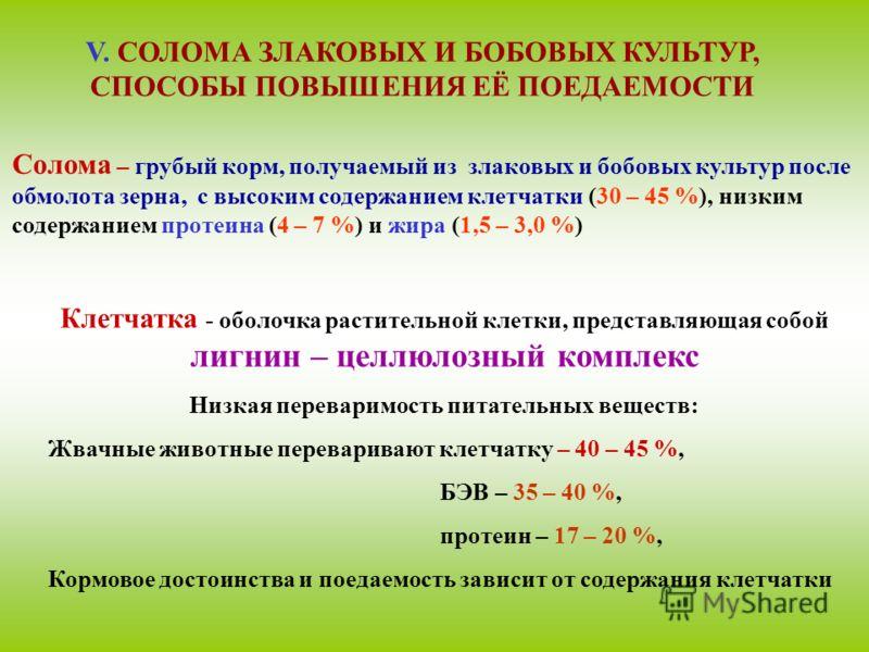 Солома – грубый корм, получаемый из злаковых и бобовых культур после обмолота зерна, с высоким содержанием клетчатки (30 – 45 %), низким содержанием протеина (4 – 7 %) и жира (1,5 – 3,0 %) Клетчатка - оболочка растительной клетки, представляющая собо