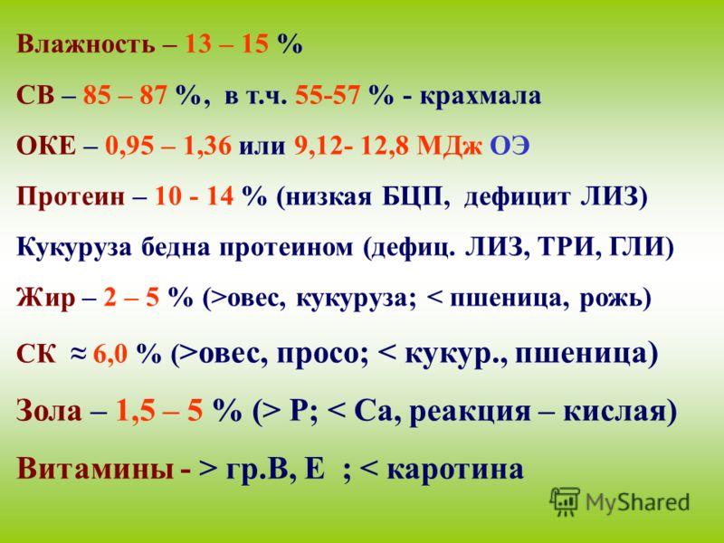 Влажность – 13 – 15 % СВ – 85 – 87 %, в т.ч. 55-57 % - крахмала ОКЕ – 0,95 – 1,36 или 9,12- 12,8 МДж ОЭ Протеин – 10 - 14 % (низкая БЦП, дефицит ЛИЗ) Кукуруза бедна протеином (дефиц. ЛИЗ, ТРИ, ГЛИ) Жир – 2 – 5 % (>овес, кукуруза; < пшеница, рожь) СК