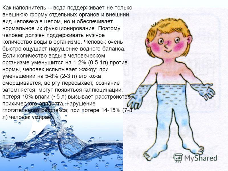 Page 27 Как наполнитель – вода поддерживает не только внешнюю форму отдельных органов и внешний вид человека в целом, но и обеспечивает нормальное их функционирование. Поэтому человек должен поддерживать нужное количество воды в организме. Человек оч