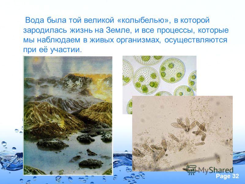 Page 32 Вода была той великой «колыбелью», в которой зародилась жизнь на Земле, и все процессы, которые мы наблюдаем в живых организмах, осуществляются при её участии.