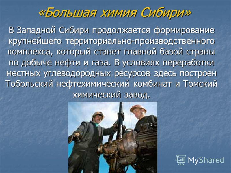 «Большая химия Сибири» В Западной Сибири продолжается формирование крупнейшего территориально-производственного комплекса, который станет главной базой страны по добыче нефти и газа. В условиях переработки местных углеводородных ресурсов здесь постро