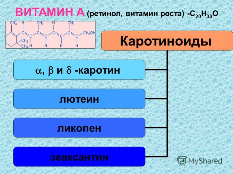 ВИТАМИН А (ретинол, витамин роста) -С 20 Н 30 О Каротиноиды, и - каротин лютеин ликопен зеаксантин