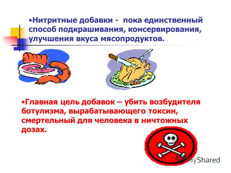 Нитритные добавки - пока единственный способ подкрашивания, консервирования, улучшения вкуса мясопродуктов. Главная цель добавок – убить возбудителя ботулизма, вырабатывающего токсин, смертельный для человека в ничтожных дозах.