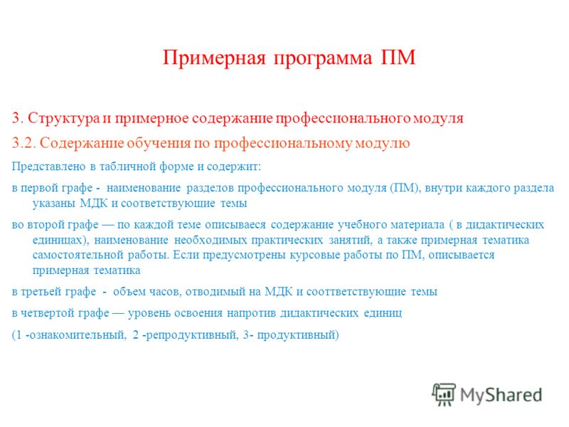 Примерная программа ПМ 3. Структура и примерное содержание профессионального модуля 3.2. Содержание обучения по профессиональному модулю Представлено в табличной форме и содержит: в первой графе - наименование разделов профессионального модуля (ПМ),