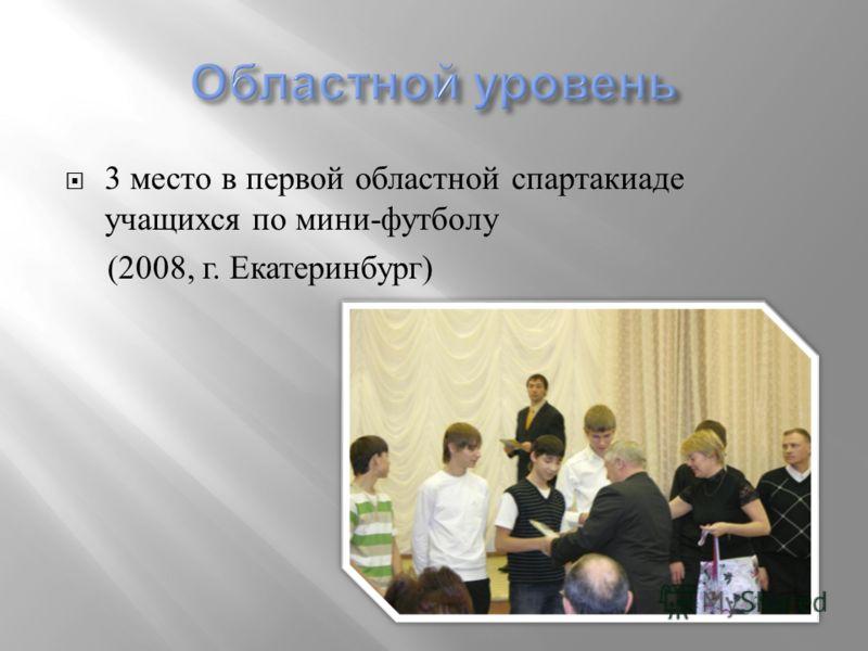 3 место в первой областной спартакиаде учащихся по мини - футболу (2008, г. Екатеринбург )