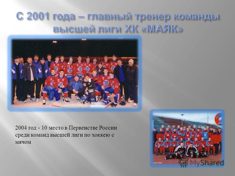 2004 год - 10 место в Первенстве России среди команд высшей лиги по хоккею с мячом