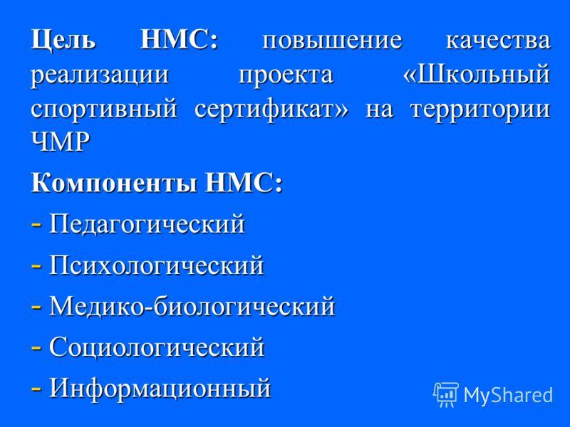 Цель НМС: повышение качества реализации проекта «Школьный спортивный сертификат» на территории ЧМР Компоненты НМС: - Педагогический - Психологический - Медико-биологический - Социологический - Информационный