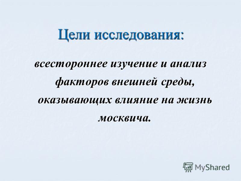 Цели исследования: всестороннее изучение и анализ факторов внешней среды, оказывающих влияние на жизнь москвича.