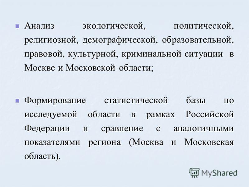 Анализ экологической, политической, религиозной, демографической, образовательной, правовой, культурной, криминальной ситуации в Москве и Московской области; Анализ экологической, политической, религиозной, демографической, образовательной, правовой,