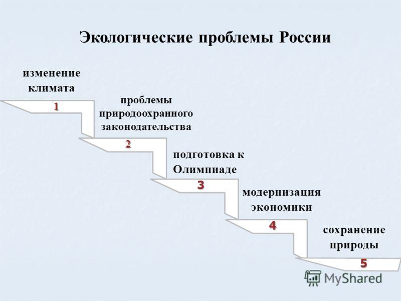 Экологические проблемы России 1 2 3 4 5 изменение климата проблемы природоохранного законодательства подготовка к Олимпиаде модернизация экономики сохранение природы