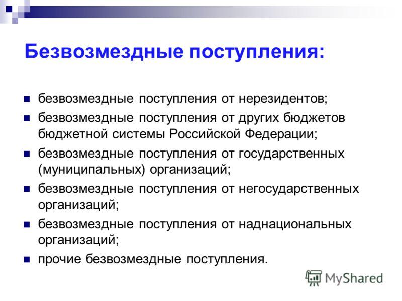 Безвозмездные поступления: безвозмездные поступления от нерезидентов; безвозмездные поступления от других бюджетов бюджетной системы Российской Федерации; безвозмездные поступления от государственных (муниципальных) организаций; безвозмездные поступл