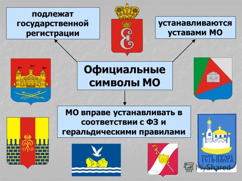 Официальные символы МО подлежат государственной регистрации устанавливаются уставами МО МО вправе устанавливать в соответствии с ФЗ и геральдическими правилами