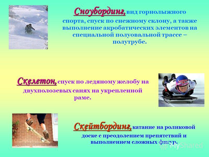 Сноубординг, Сноубординг, вид горнолыжного спорта, спуск по снежному склону, а также выполнение акробатических элементов на специальной полуовальной трассе – полутрубе. Скелетон, Скелетон, спуск по ледяному желобу на двухполозевых санях на укрепленно