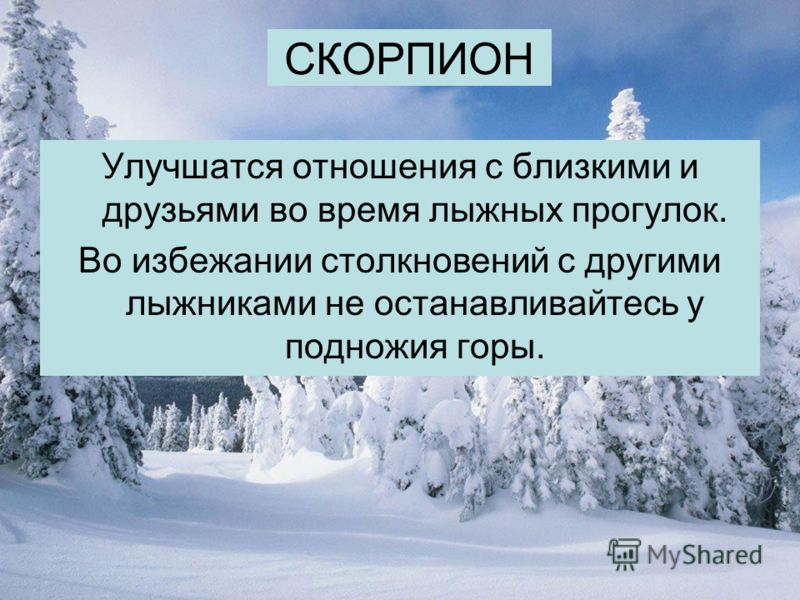 СКОРПИОН Улучшатся отношения с близкими и друзьями во время лыжных прогулок. Во избежании столкновений с другими лыжниками не останавливайтесь у подножия горы.