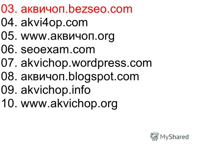 04. akvi4op.com 05. www.аквичоп.org 06. seoexam.com 07. akvichop.wordpress.com 08. аквичоп.blogspot.com 09. akvichop.info 10. www.akvichop.org