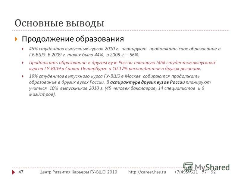 Основные выводы Центр Развития Карьеры ГУ - ВШЭ ' 2010 http://career.hse.ru +7(495) 621 – 77 – 92 47 Продолжение образования 45% студентов выпускных курсов 2010 г. планируют продолжать свое образование в ГУ - ВШЭ. В 2009 г. таких было 44%, в 2008 г.