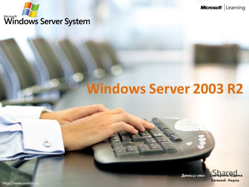 Windows Server 2003 R2 Докладчики: Екатерина Юдина Евгений Норка http://www.avalon.ru