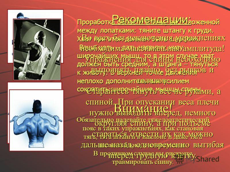 Проработка области спины, расположенной между лопатками: тяните штангу к груди. Хват при этом должен быть широким. Ваша цель – дать нагрузку низу широчайших мышц, то в этом случае хват должен быть средним, а штанга – тянуться к животу. В верхней точк