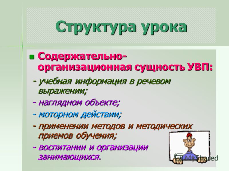 Структура урока Содержательно- организационная сущность УВП: Содержательно- организационная сущность УВП: - учебная информация в речевом выражении; - учебная информация в речевом выражении; - наглядном объекте; - наглядном объекте; - моторном действи