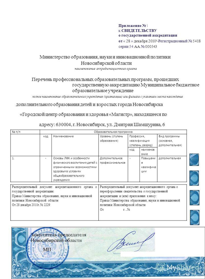 Приложение \ к СВИДЕТЕЛЬСТВУ о государственной аккредитации от « 28 » декабря 2010 г -Регистрационный 5418 серии 54 АА 000543 Министерство образования, науки и инновационной политики Новосибирской области наименование аккредитационного органа Перечен