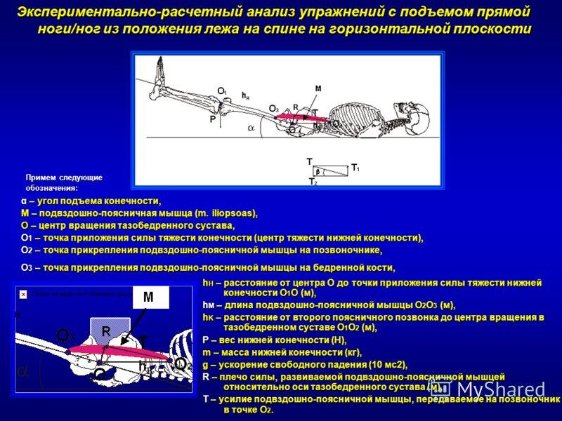 Экспериментально-расчетный анализ упражнений с подъемом прямой ноги/ног из положения лежа на спине на горизонтальной плоскости α – угол подъема конечности, M – подвздошно-поясничная мышца (m. iliopsoas), О – центр вращения тазобедренного сустава, О 1