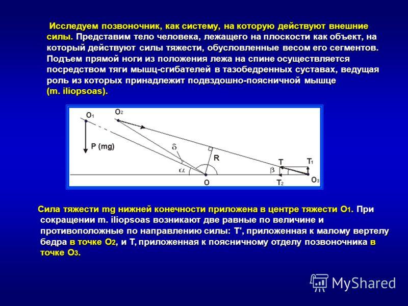 Исследуем позвоночник, как систему, на которую действуют внешние силы. Представим тело человека, лежащего на плоскости как объект, на который действуют силы тяжести, обусловленные весом его сегментов. Подъем прямой ноги из положения лежа на спине осу