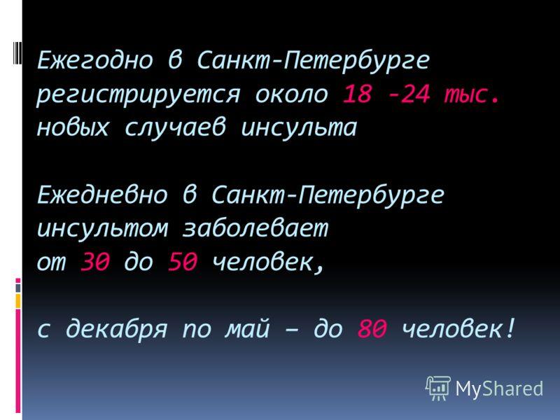 Ежегодно в Санкт-Петербурге регистрируется около 18 -24 тыс. новых случаев инсульта Ежедневно в Санкт-Петербурге инсультом заболевает от 30 до 50 человек, с декабря по май – до 80 человек!