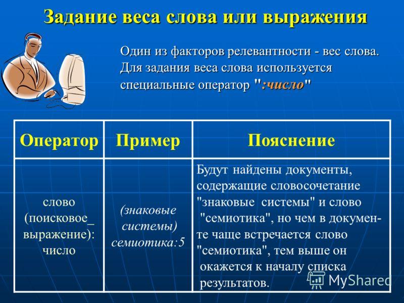 Задание веса слова или выражения Один из факторов релевантности - вес слова. Для задания веса слова используется специальные оператор