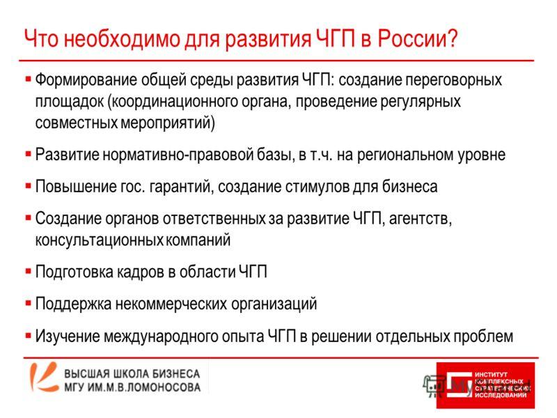 Что необходимо для развития ЧГП в России? Формирование общей среды развития ЧГП: создание переговорных площадок (координационного органа, проведение регулярных совместных мероприятий) Развитие нормативно-правовой базы, в т.ч. на региональном уровне П