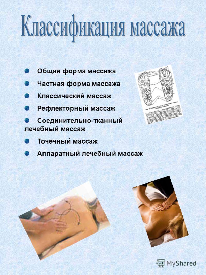 Общая форма массажа Частная форма массажа Классический массаж Рефлекторный массаж Соединительно-тканный лечебный массаж Точечный массаж Аппаратный лечебный массаж