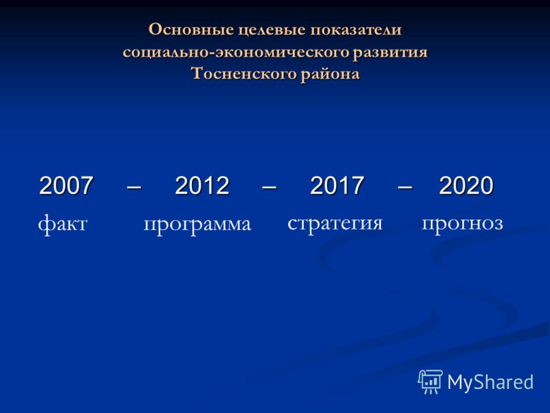 Основные целевые показатели социально-экономического развития Тосненского района 2007 – 2012 – 2017 – 2020 фактпрограмма стратегияпрогноз