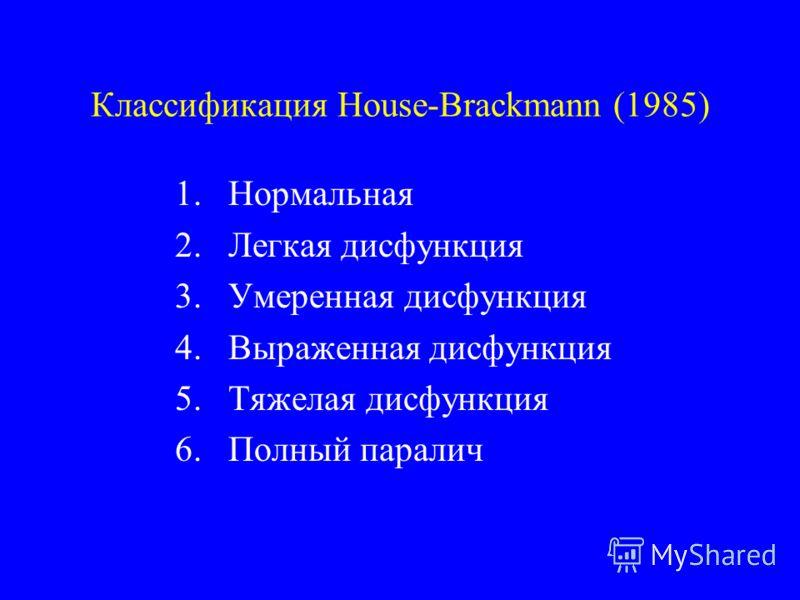 Классификация House-Brackmann (1985) 1.Нормальная 2.Легкая дисфункция 3.Умеренная дисфункция 4.Выраженная дисфункция 5.Тяжелая дисфункция 6.Полный паралич
