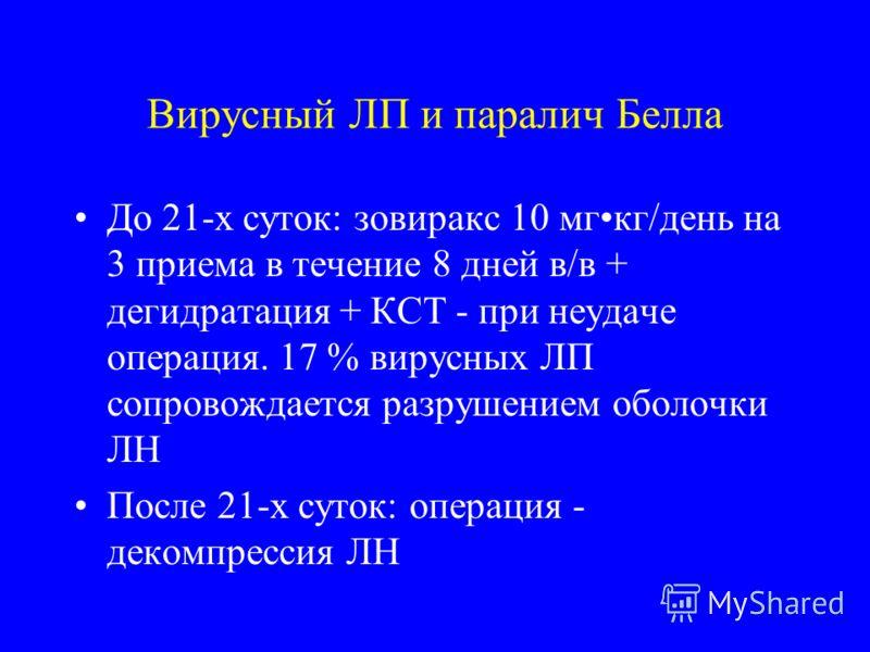 Вирусный ЛП и паралич Белла До 21-х суток: зовиракс 10 мгкг/день на 3 приема в течение 8 дней в/в + дегидратация + КСТ - при неудаче операция. 17 % вирусных ЛП сопровождается разрушением оболочки ЛН После 21-х суток: операция - декомпрессия ЛН