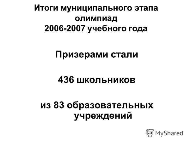 Итоги муниципального этапа олимпиад 2006-2007 учебного года Призерами стали 436 школьников из 83 образовательных учреждений