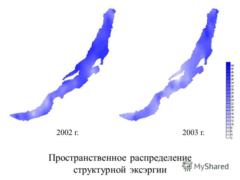 Пространственное распределение структурной эксэргии 2002 г.2003 г.
